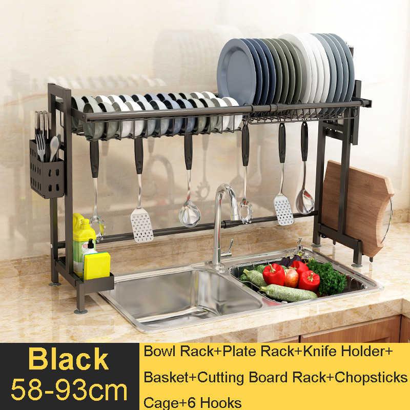 Retractable 304 Stainless Steel Kitchen Sink Rack Dish Drying Rack  Adjustable Storage Shelf Kitchen Organizer