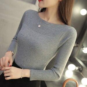 Image 4 - 2019 Korean women collar sweater all match short sleeved shirt slim female thread tight Pullover