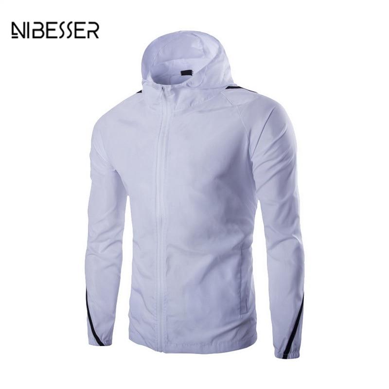 NIBESSER Long Sleeve Patchwork Jackets Men Hooded Thin Jackets Sun Protection Tops Summer Top Zipper Design Hoodies Coat