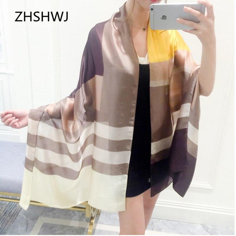 65a2fde0b116  Zhshwj  nouveau printemps rayé imprimer imitation foulard de soie dame  sauvage summer beach solaire écharpe châle femmes écharpe