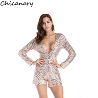 Chicanary 2018 Frühling Tiefen V-ausschnitt Langarm Strampler Frauen Pailletten Overall Sexy Short Club Party Bodycon Overall Playsuit