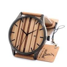 BOBO OISEAU Horloge Hommes 2016 Marque De Luxe Montres Cadran En Bois Montre Homme relogio Quartz Montre Calendrier Complet en acier Inoxydable montre