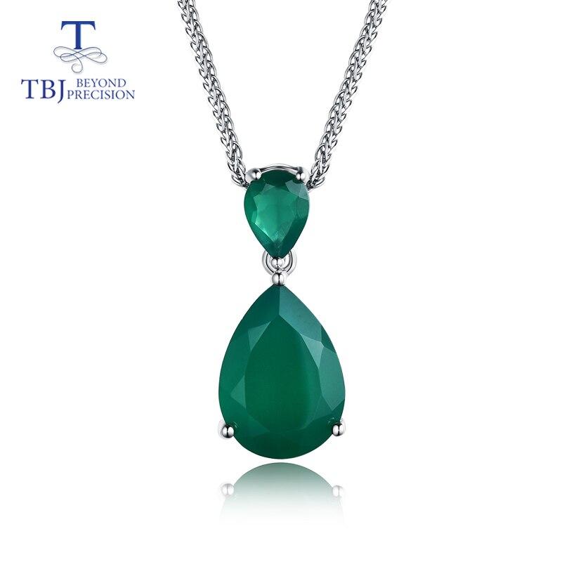 TBJ, nouveau pendentif élégant avec des pierres précieuses d'agate verte naturelle en argent sterling 925 bijoux de charme pour les femmes maman avec boîte-cadeau