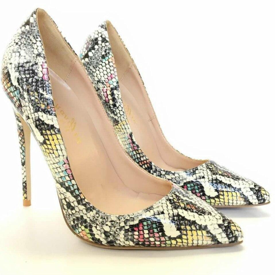 Keshangjia Women Pumps Snake Printing High Heels Sexy Pointed Toe Women Shoes Plus Size 35 44