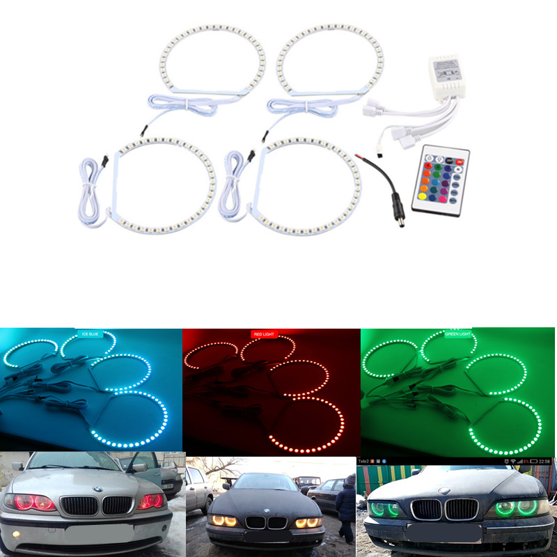 4X 131MM 5050SMD Multi-Color RGB LED Angel Eyes 1992-2006 For BMW E36 E46 E39 E38 3 5 7 Series Halo Ring Kit Headlights Remote auto 4x for bmw 3 series e46 e36 e38 e39 ccfl angel eye halo light white no projector feb27