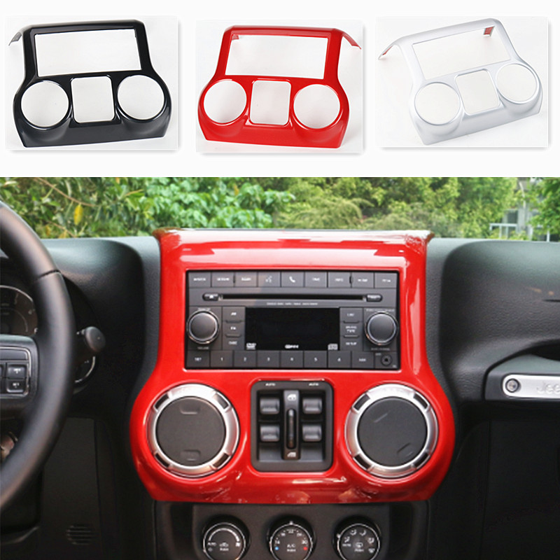 Dashboard Center Console Fascia Panel Air conditioning switch Frame Cover Interior Chrome Molding ABS For Jeep Wrangler jk 11-16 for ipod classic 6th 7th front cover silver panel faceplate fascia housing cover
