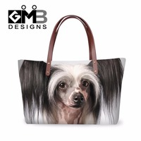 Dispalang New Design Cute Animal Over Shoulder Bag Chinese Crested Dog Tote Shopping Beach Bag Custom