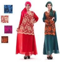 Mode Vrouwen Moslim Arabische Maxi Jurk Lange Mouw Gehaakte Kant Etnische Herfst Lente Jurken Moderne Abaya Indonesië Kleding