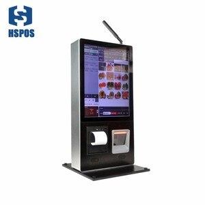 Terminal de autoservicio de pared Vertical de 15 pulgadas con impresora térmica incrustada de 58mm y plataforma de escáner de código qr con altavoz estéreo incorporado