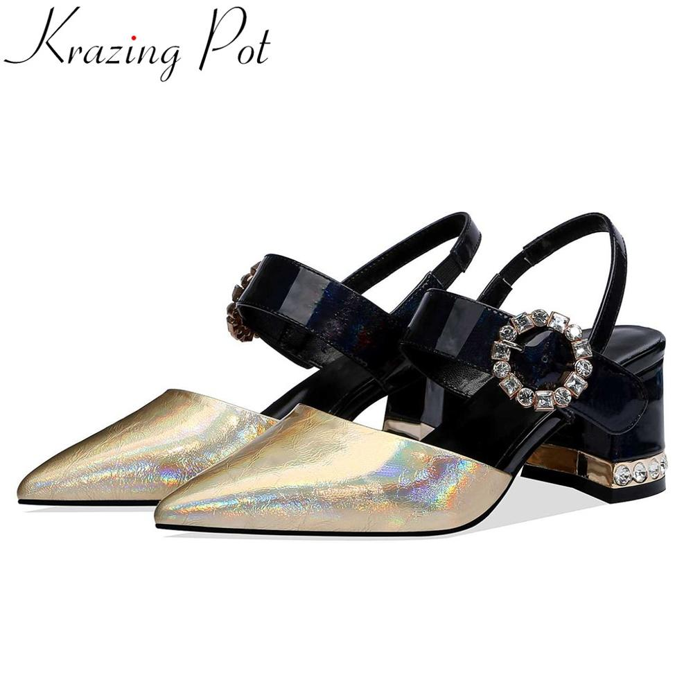Krazing pot streetwear mixed colors patent leather women sandals slip on crystals buckle high heels summer
