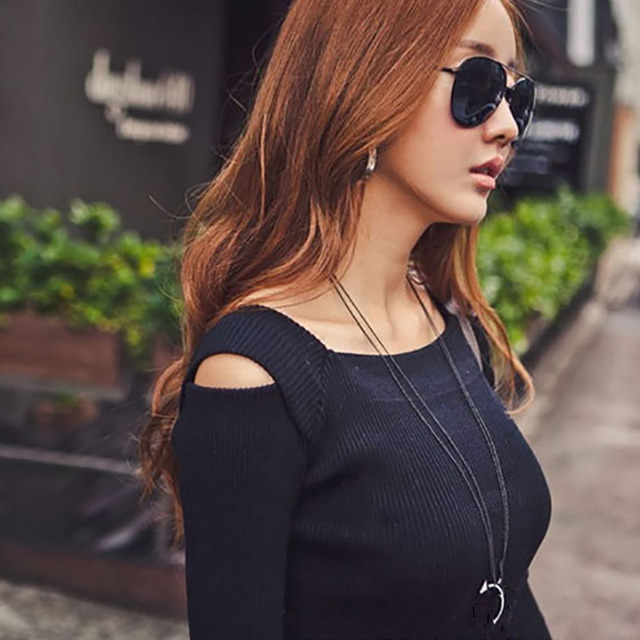 New Spring Autumn Dress Women's Off Shoulder Long Sleeve Knitted Casual