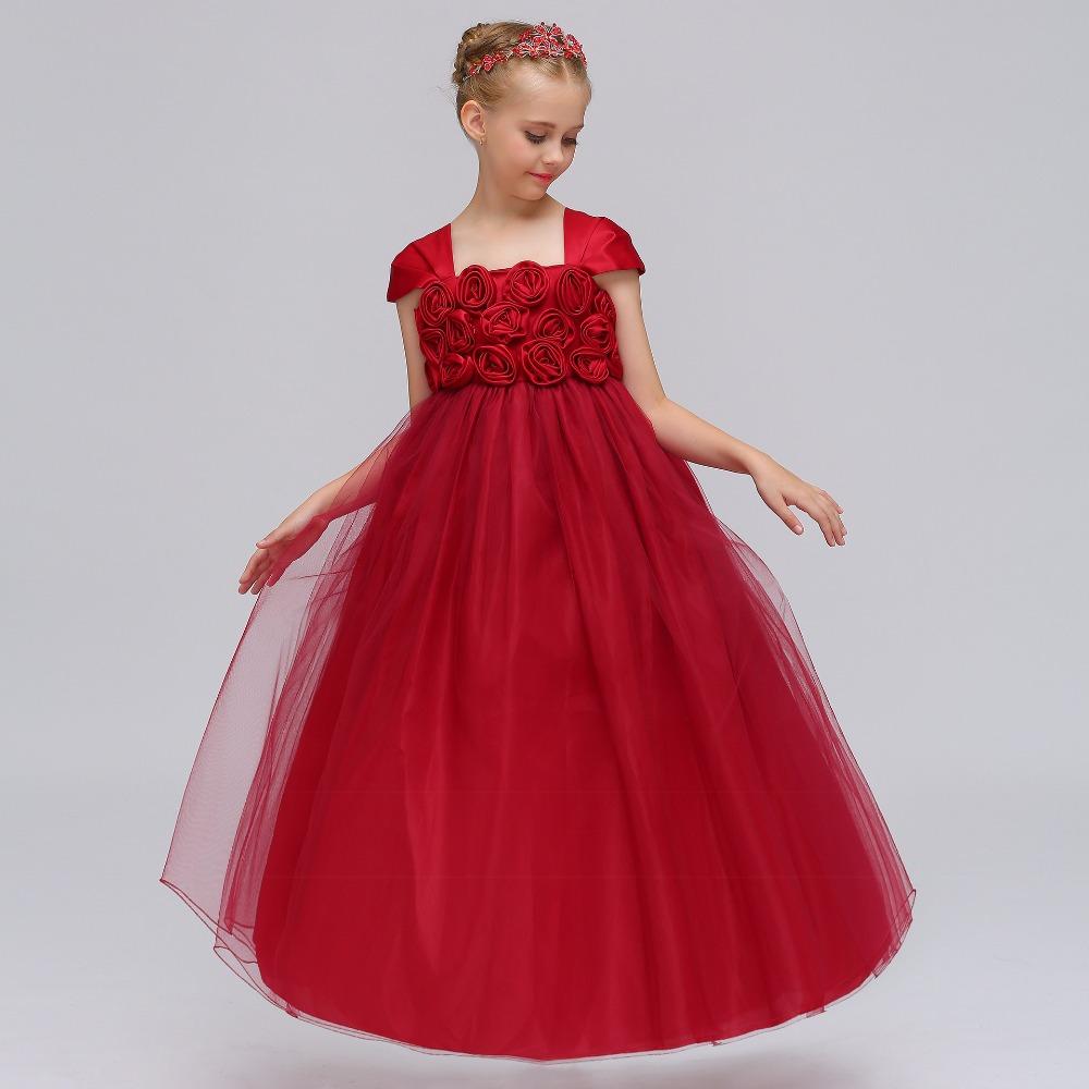1fd7b86cb4 Rojo azul púrpura largo rosa vestido de niña de flores para boda cumpleaños  niña niños noche vestidos de baile palabra de longitud vestidos del desfile  2018 ...