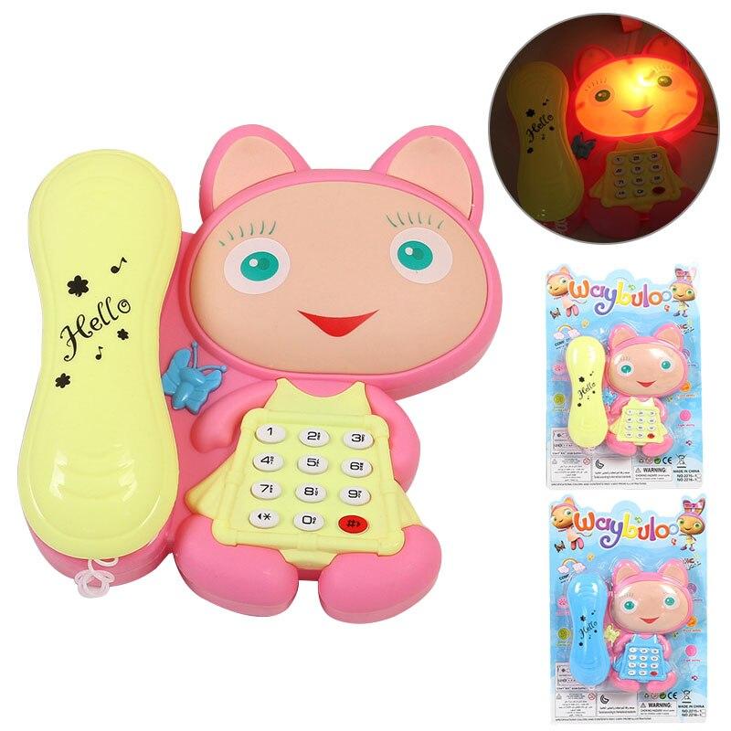 1 Pc Cartoon Katze Reden Geschichten Mit Led Licht Baby Maschinen Kinder Telefon Musical Spielzeug Zufällige Farbe 2019