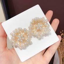 Big Statement Imitation Pearl Flower Stud Earrings For Women 2019 New Handmade Baroque Fashion Jewelry Wholesale