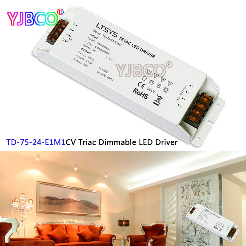 New intelligent led Driver TD-75-24-E1M1; 75W 24VDC 3.1A constant voltage Triac Dimmable LED Driver Triac Push Dim купить в Москве 2019