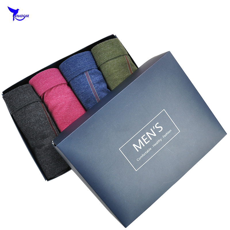 4Pcs/lot Gift Box Mens Colored Cotton Boxers Underwear Casual Breathable Underpants Antibacterial Panties Shorts Homme Cuecas