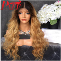 PAFF Ombre Blonde Color Lace Front Human Hair Wigs 150% Density 8 26'' Two Tone Color Brazilian Remy Hair Wigs With Baby Hair