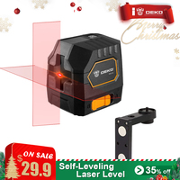 DEKO DKLL02 Mini Style Self Leveling Laser Level Cross Line Laser With Red Light Source & Adjustable Mounting Clamp