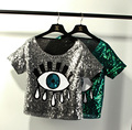 2015 Free Shipping Summer Style Women Tops Fashion Crop Tops Loose Short Tops Sequins Big Eye Sexy Sequined Eyes Casual T-shirt