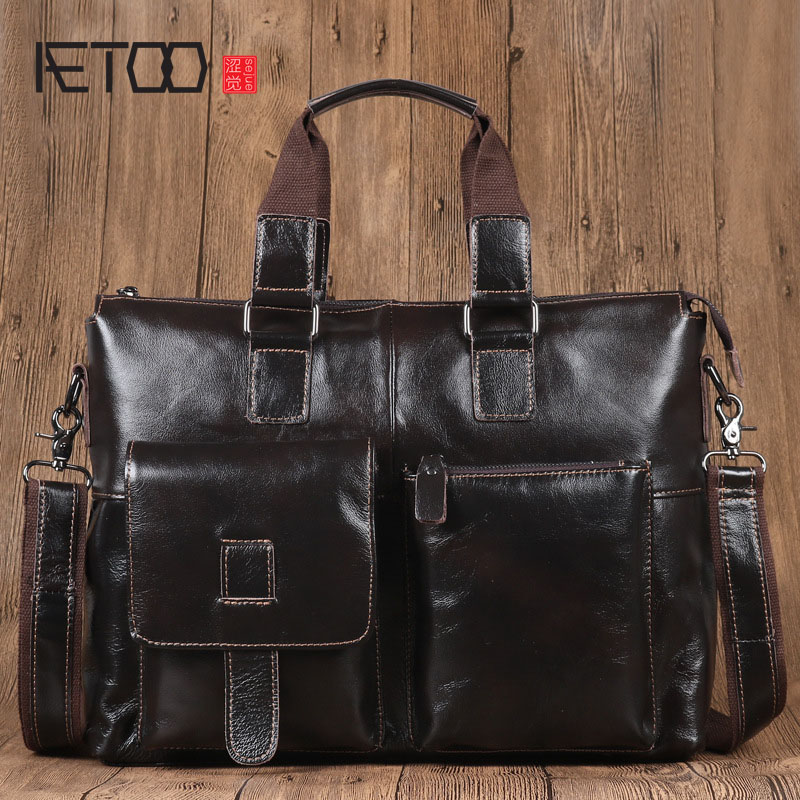 AETOO Men's Leather Handbag Men's Headband Oil Wax Leather Genuine Leather Men's Bag Men's Computer Briefcase aetoo the new oil wax cow leather bags real leather bag fashion in europe and america big capacity of the bag