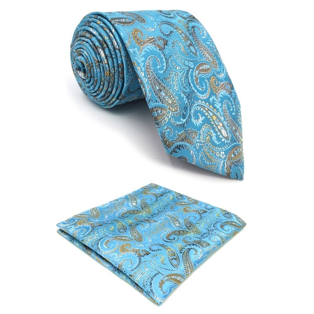 D9 Blue Paisley Mens Ties Silk for Men Pocket Square Set Extra Long