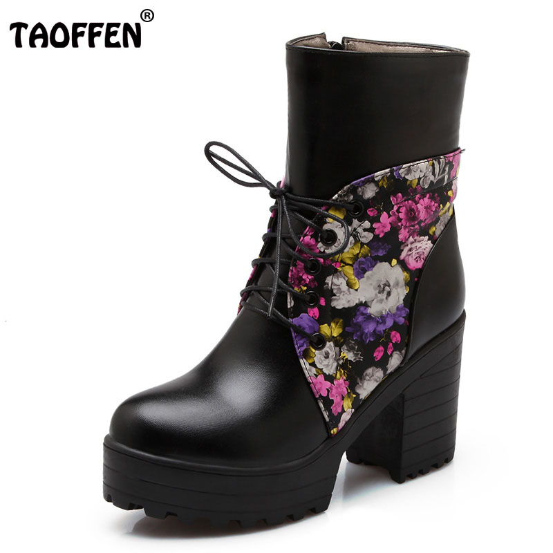 TAOFFEN Size 34-43 Women Platform High Heel Boots Print Cross Strap Short Boot Warm Shoes Mid Calf Boots For Sexy Women Footwear taoffen size 30 52 russia women round toe height increasing mid calf boots woman cross strap warm fur winter half shoes footwear