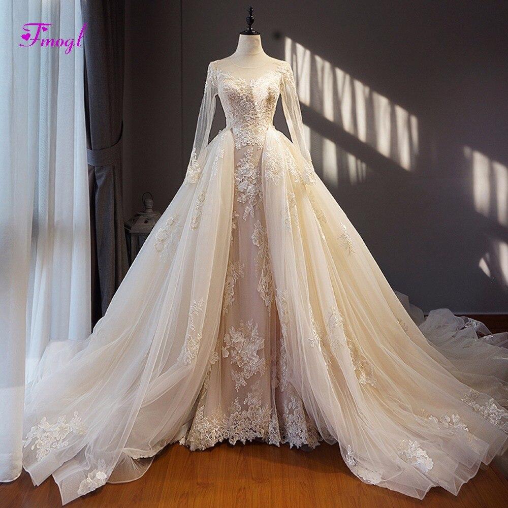 Fmogl Mode Scoop Neck Lace Up Amovible Train Robe De Mariée 2018 Appliques Manches Longues Vintage De Mariage Robe Robe de Noiva