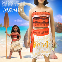 2017 Mommy And Me Family Matching Mother Daughter Dresses Set Moana Cosplay Dress Kids Parent Child