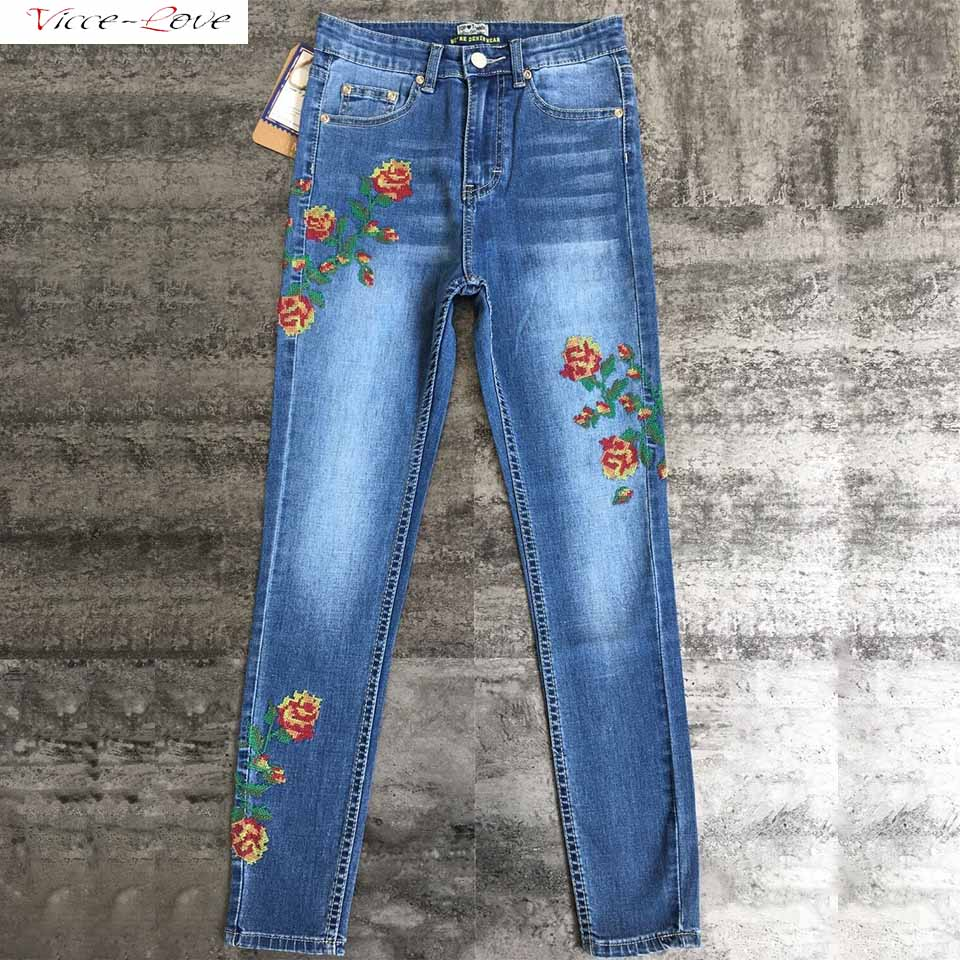 Women Stretch High Waist Skinny Embroidery Jeans Pencil Pants High Elastic plus size femme washed casual skinny pencil pants rosicil new women jeans low waist stretch ankle length slim pencil pants fashion female jeans plus size jeans femme 2017 tsl049 page 6