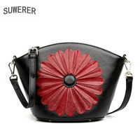 SUWERER Genuine Leather women bags for Top cowhide woman floral flower bag designer Luxury fashion quality handmade art bags