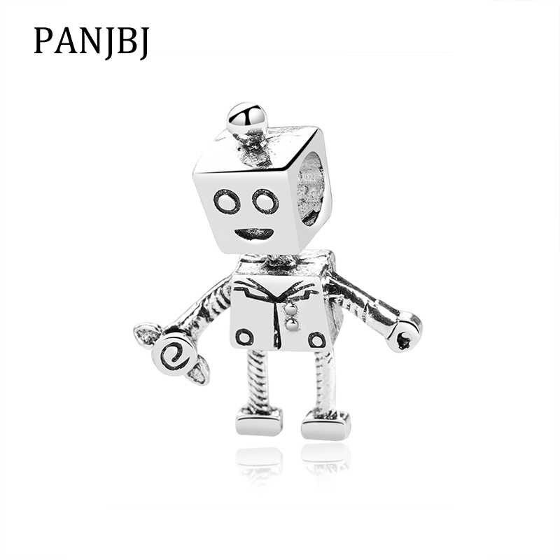 Yeni Orijinal Ücretsiz Kargo Gümüş Kaplama Boncuk Alaşım Rob Bot Charm Fit Pandora Bilezik Kolye DIY Kadınlar Takı