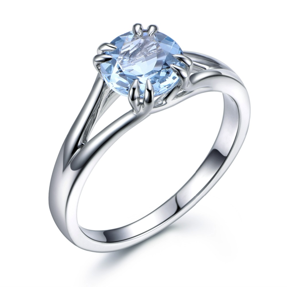 14k white gold natural blue genuine aquamarine engagement ring split shank claws wedding band anniversary gift ring yellow rose