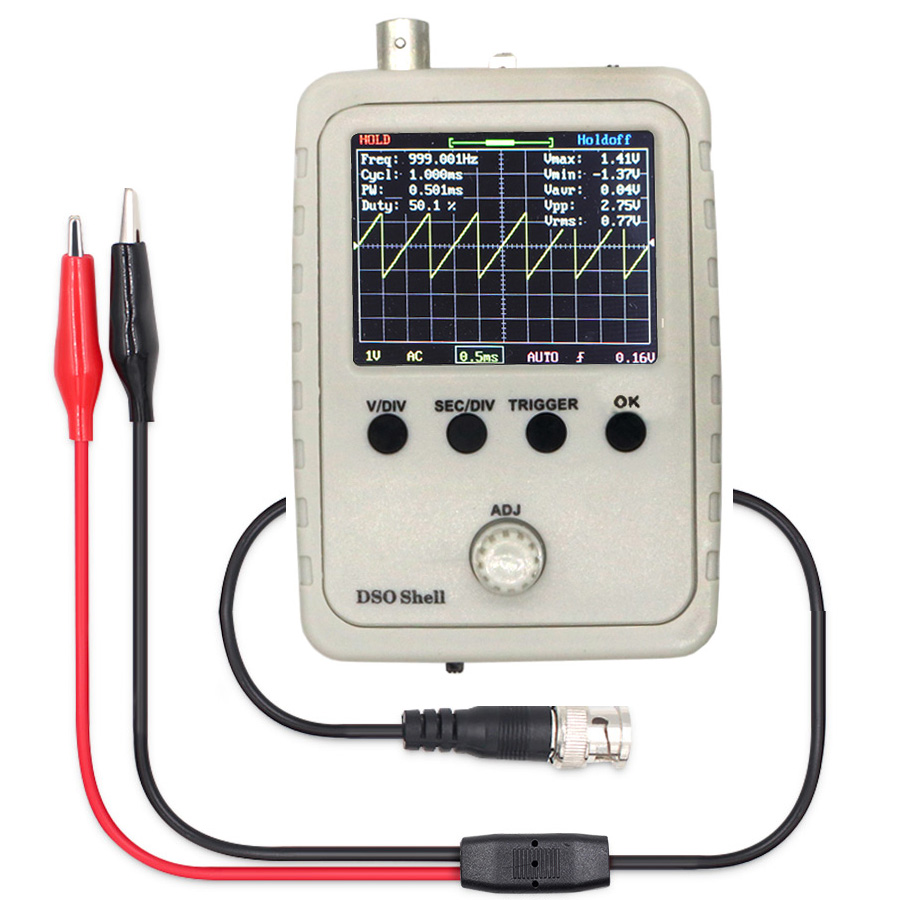 DSO Shell (DSO150) Digital STM32 Oscilloscope Fully Assembled with Crocodile clip ProbeDSO Shell (DSO150) Digital STM32 Oscilloscope Fully Assembled with Crocodile clip Probe