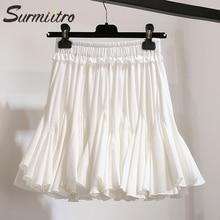 Surmiitro White Black Chiffon Summer Shorts Skirt Women 2019 Fashion Korean High Waist Tutu Pleated Mini Sun School Skirt Female