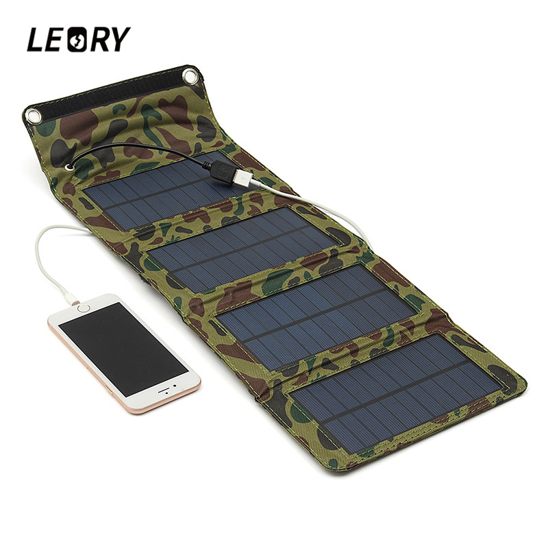 LEORY Portable 7W <font><b>Solar</b></font> Panel Foldable Camping Travel <font><b>Solar</b></font> Charger For Cellphone Mobile Tablet Kits USB Battery Charging Pack