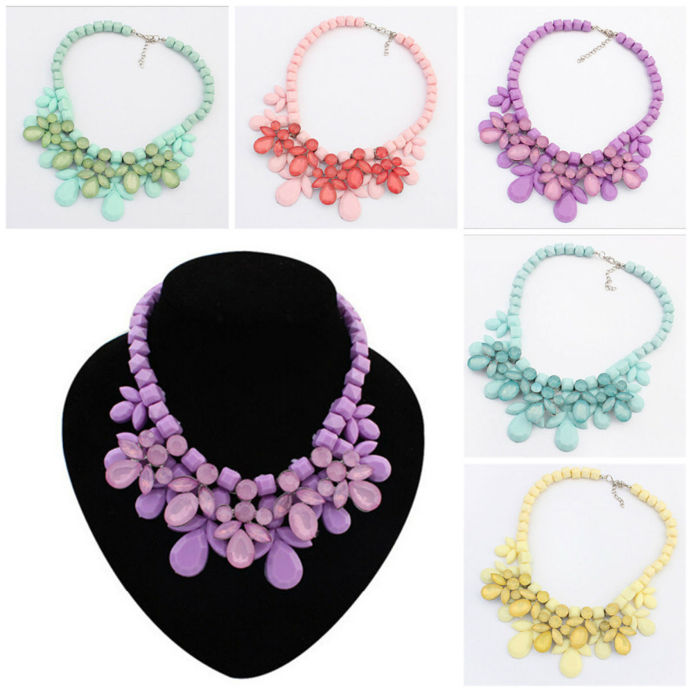 Women Fashion Mix Color Bohemia Big Flower Bubble Bib Choker Statement Necklace