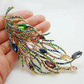 Роскошные длинные перо брошь многоцветные горный хрусталь кристалл довольно ну вечеринку ювелирных изделий
