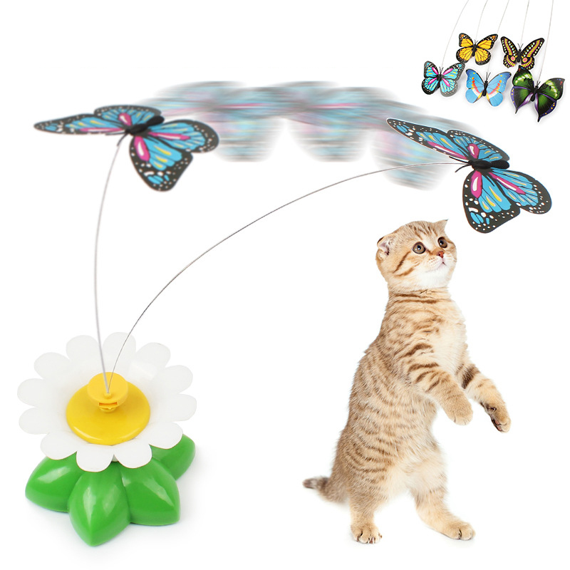 New Arrival Cat Toy Electric Rotating Flower Butterfly Steel Wire Cat Teaser Pet Toy Lively