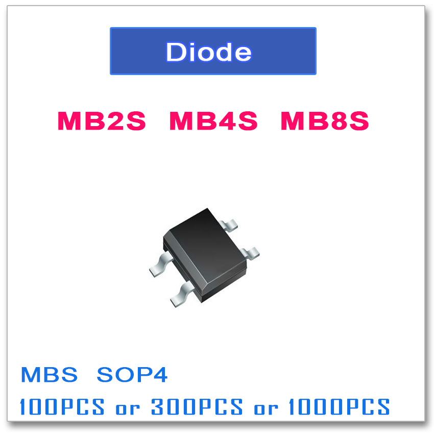 MB2S MB4S MB8S SOP-4 100 PCS 300 PCS 1000 PCS 0.5A 200 V 400 V 800 V SOP4 Phases Simples MBS SMD
