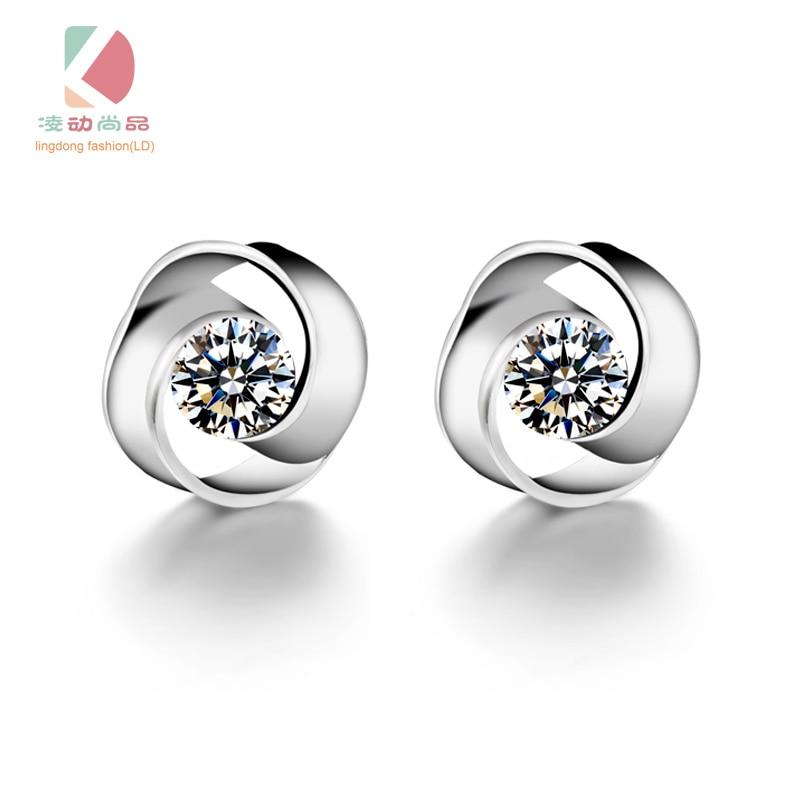 Lingdong módní značky 925 stříbrné ucho cvoček kruh lásky série jednoduché náušnice butik dárek doprava zdarma