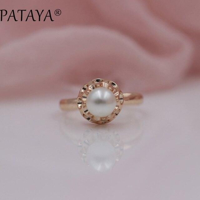 PATAYA Nuovi Arrivi Offerta Speciale 585 In Oro Rosa Anelli Donna Rotonda Imitaz