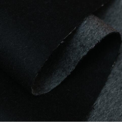 LEO & LIN nouveau double couche de couleur noir gris beige élégant tricot laine cachemire manteau tissu pour coudre patchwork (1 mètre)