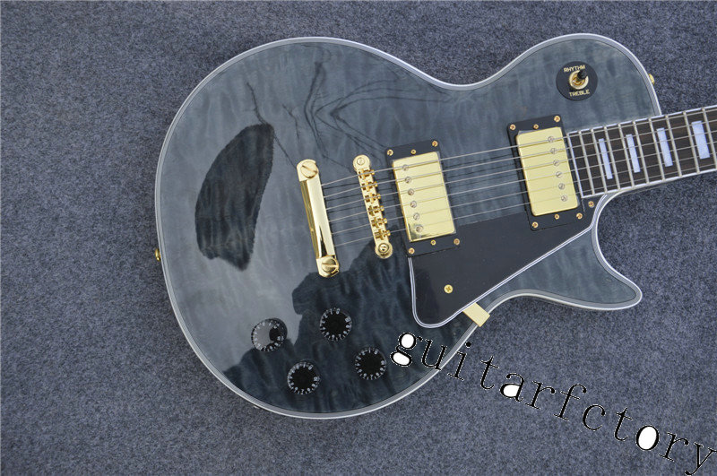 New arrival top quality with quilted maple les custom black beautify Electric Guitar,Custom Paul guitar,Golden hardware