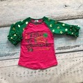 Meninas do bebê boutique de três quartos de algodão bonito top T-shirt roupas hot pink ruffles little miss trevos raglans impressão