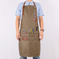 WEEYI Women Men Hairdresser Apron Cotton Bib Aprons Kitchen With Leather Straps Adult Apron For Work Barber Chef Drawing BBQ