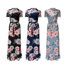 Womens Summer Plus Size Stand Collar Party Maxi Long Dress Short Sleeves Boho Floral Printed Belted High Waist Mock Neck Beach S