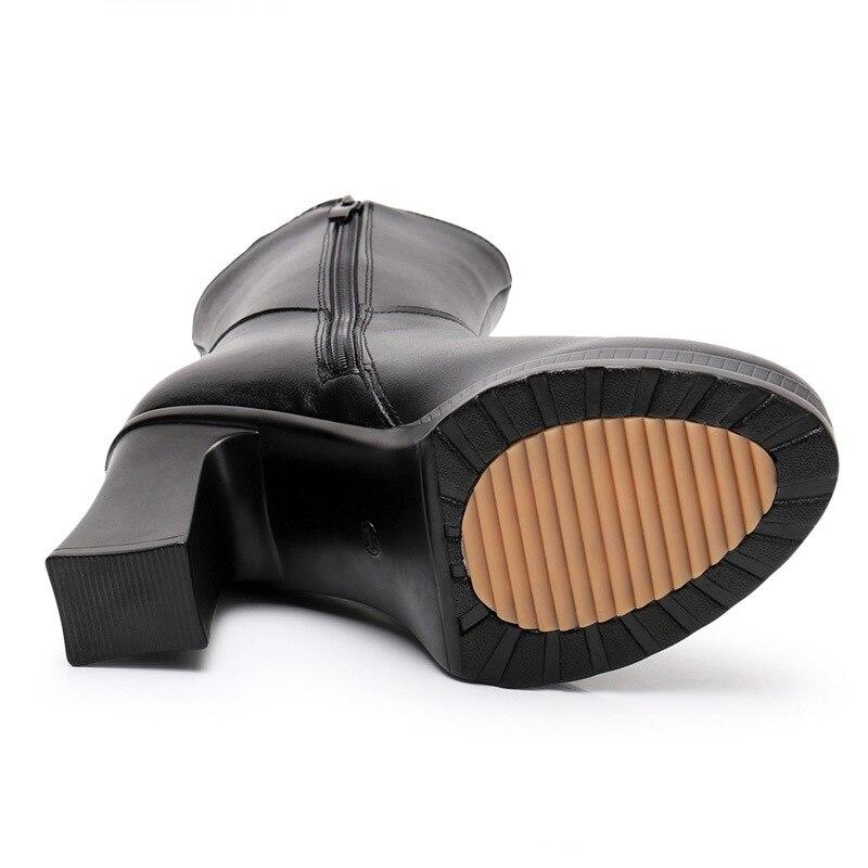 Retro Primera 2018 Nuevo Martin Tacón Bordado Las Botas Zapatos Capa Mujeres De Alto 9 Cm Cuero Negro Invierno Terciopelo Mujer qq48E