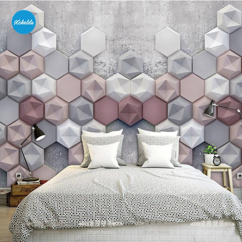 XCHELDA Custom Modern Luxury Photo Wall Mural 3D Wallpaper Papel De Parede Living Room Tv Backdrop Wall Paper Of 3D Hexagon custom photo wallpaper luxury 3d stereoscopic vase entrance corridor aisle backdrop wall decoration painting mural de parede 3d