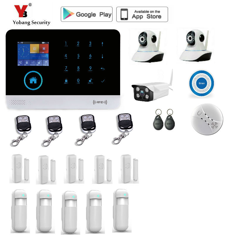 Yobang Security  WiFi GSM Home Security Alarm System with Wireless PIR Detector Door Sensor 100 wireless zone Alarm System yobang security wifi gsm wireless pir home security sms alarm system glass break sensor smoke detector for home protection