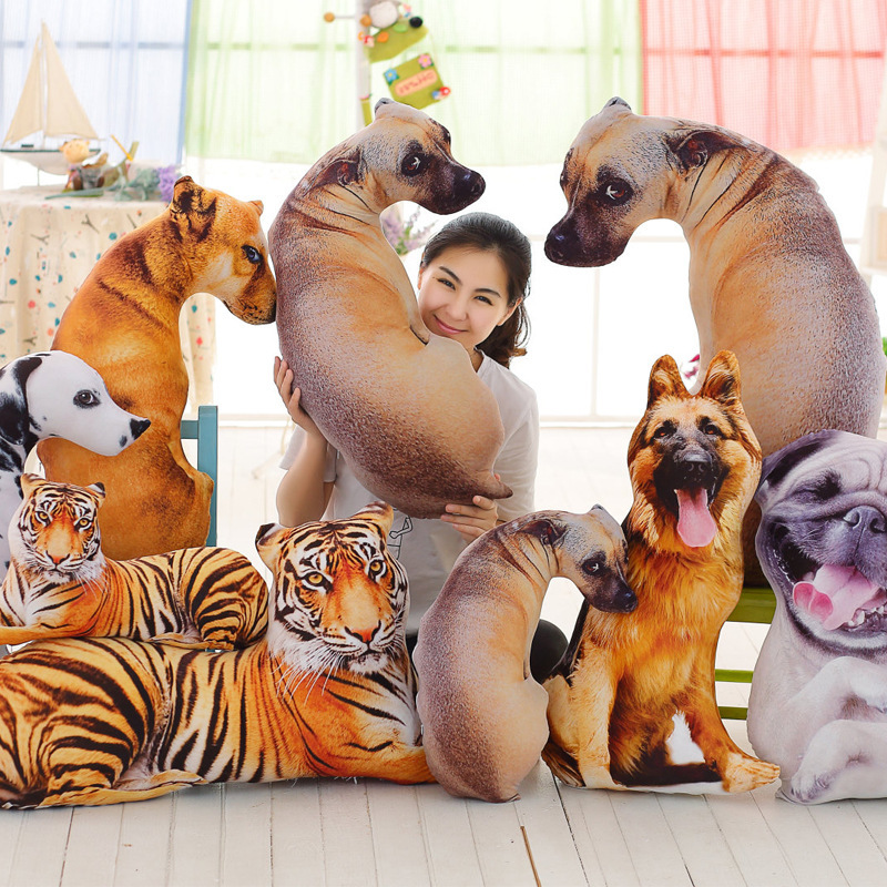 Cool 3D Dog Tiger Shade Cushions Creative Home Sofa Office Nap Pillow Washable Car Seat Pillow Cushion Toys 3 In 1